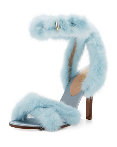 95mm Mink Fur Ankle-Wrap Sandal