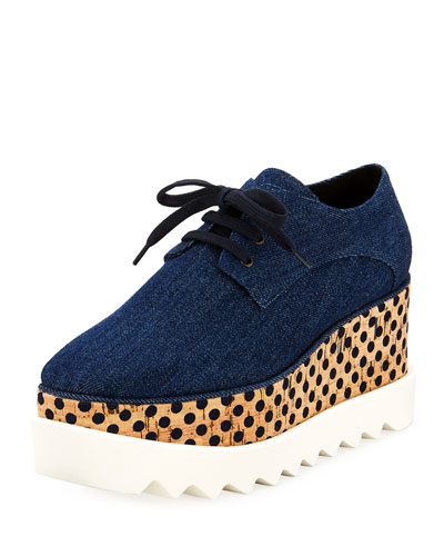 Denim Polka Dot Creeper Oxford, Navy