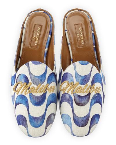 Malibu Wave-Print Loafer Slide, Blue Pattern