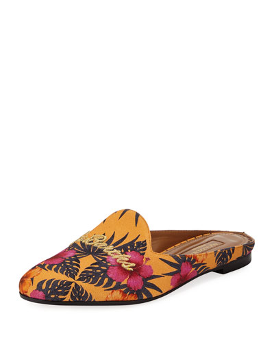 St. Barth's Canvas Loafer Mule, Yellow Pattern