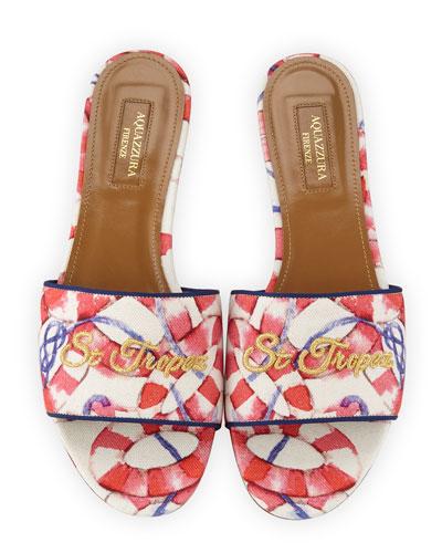 St. Tropez Embroidered Slide Sandal, Pink/White