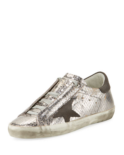 Superstar Snake-Embossed Metallic Low-Top Sneaker