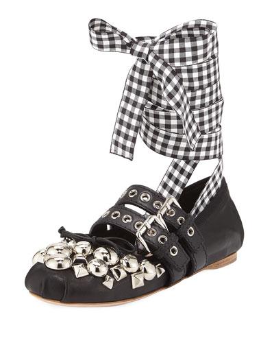 Studded Napa Ankle-Wrap Ballerina Flat, Black