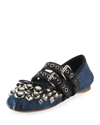 Studded Two-Buckle Denim Ballerina Flat, Blue
