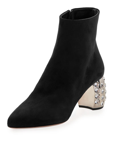 Suede Crystal-Studded Heel Bootie, Black