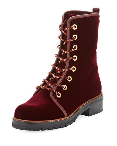 Metermaid Velvet Combat Boot, Dark Red