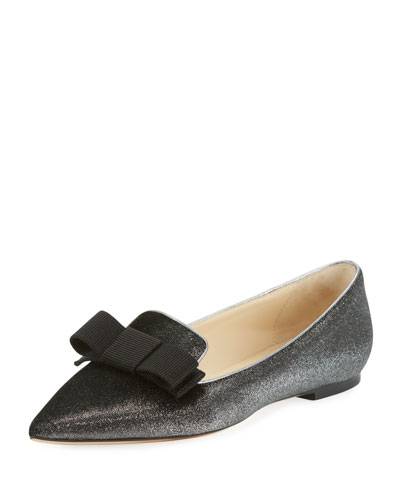 Gala Metallic Velvet Bow Loafer