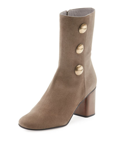 Orlando Button-Trim Suede Boot, Gray