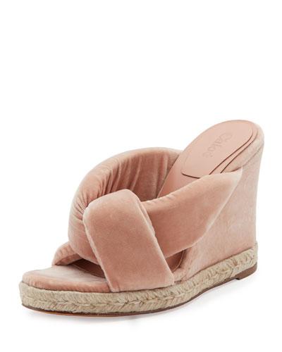 Nori Velvet Espadrille Wedge Sandal, Pink