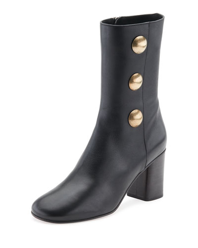 Orlando Leather Button-Detail Bootie, Black