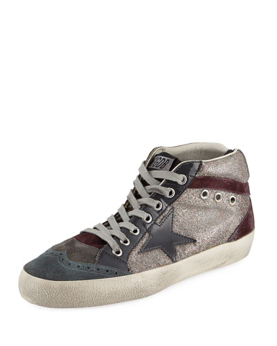 Stars Suede Mid-Top Sneaker, Gray Metallic