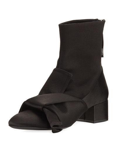 Satin Bow Block-Heel Boot, Black
