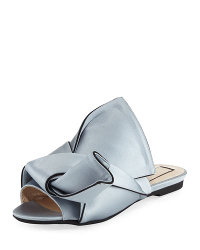 Flat Satin Bow Slide Sandal