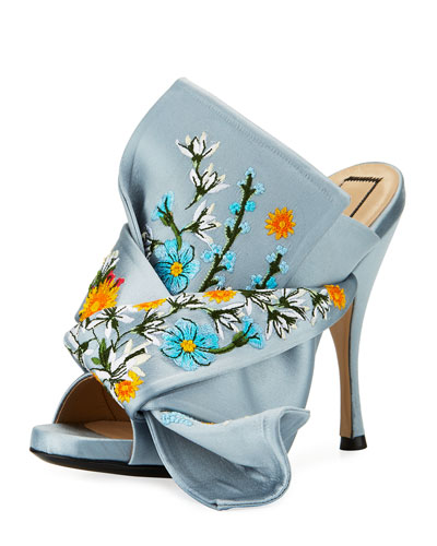 Embroidered Satin Bow Mule Sandal, Blue