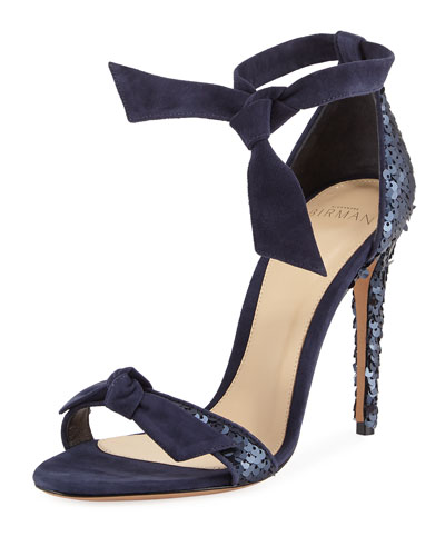 Clarita Sequined Suede Ankle-Tie Sandal, Navy