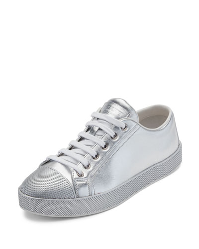 Leather Cap-Toe Low-Top Sneaker, Silver