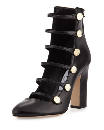 Venice Leather Multi-Strap 100mm Pump, Black