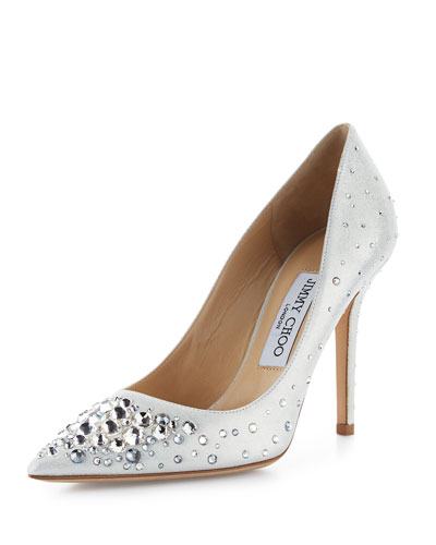 Abel Crystal Pointed-Toe Pump, White