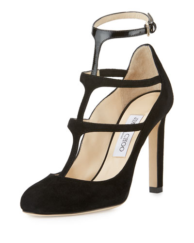 Doll Caged Suede 100mm Pump, Black