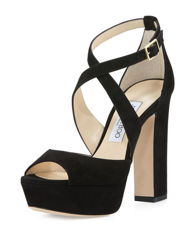 April Suede Crisscross 120mm Sandal, Black