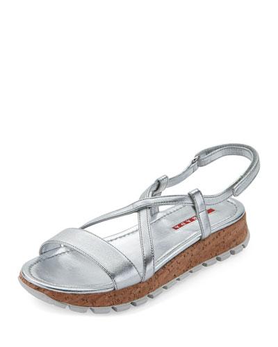 Metallic Asymmetric Cork Sandal, Silver (Argento)