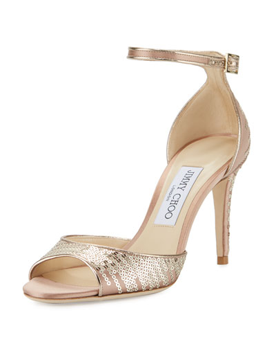 Annie Sequined 85mm Sandal, Tea Rose