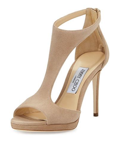 Lana Suede T-Strap 100mm Sandal