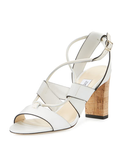 Margo Leather Crisscross 80mm Sandal, White