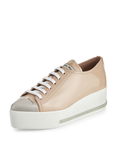 Patent Leather Cap-Toe Platform Sneaker, Nude