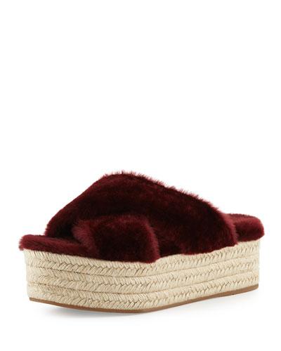 Shearling Crisscross Slide Sandal