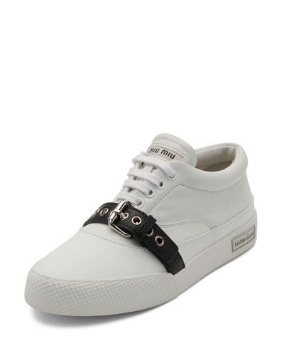 Leather Buckle Low-Top Sneaker, White/Black
