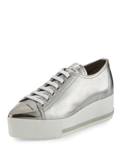 Metallic Leather Cap-Toe Sneaker, Silver