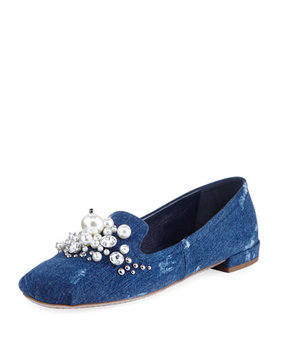 Pearly Jeweled Denim Flat