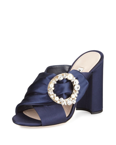 Jeweled-Buckle Satin 105mm Mule