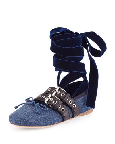 Denim Ankle-Wrap Ballerina Flat, Blue/Black