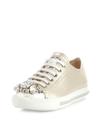 Crystal-Embellished Lace-Up Sneaker, Pyrite