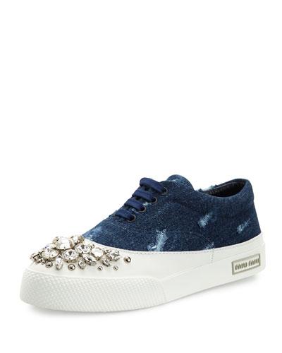 Denim & Crystal Low-Top Sneaker, Blue