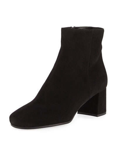 Suede 55mm Block-Heel Boot, Black