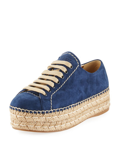 Lace-Up Suede Platform Espadrille