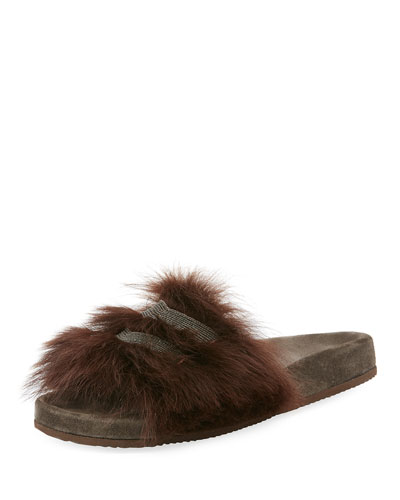 Monili-Trimmed Flat Fur Slide Sandal