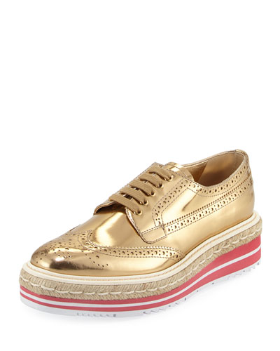 Metallic Wing-Tip Platform Loafer, Gold
