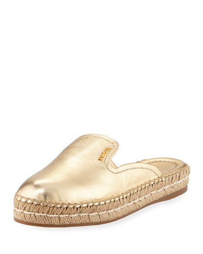 Metallic Slide Espadrille Mule, Gold