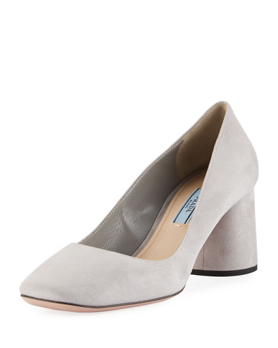 Suede 65mm Block-Heel Pump