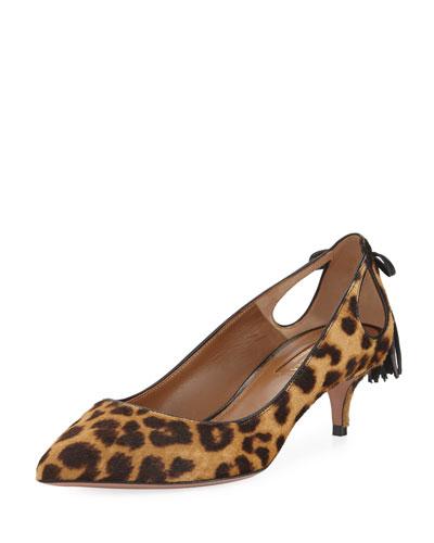 Forever Marilyn Leopard-Print Fur Pump