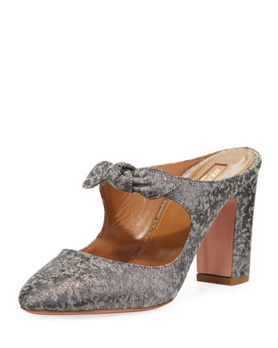 Sandy Brocade Bow Mule Pump