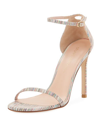 Nudistsong Striped Ankle-Wrap Sandal