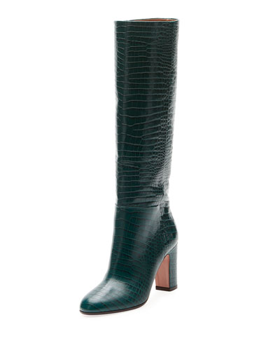 Brera Alligator-Embossed Tall Boot