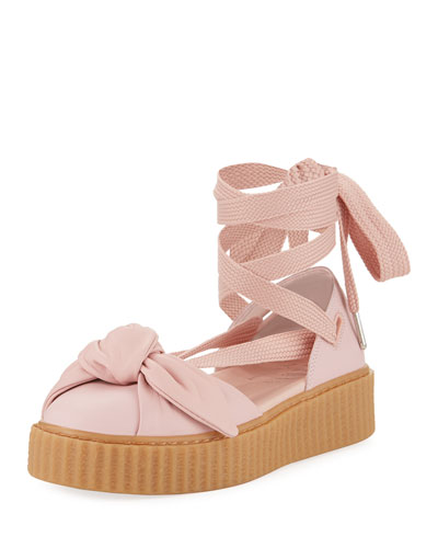 Leather Bow Creeper Sandal, Pink