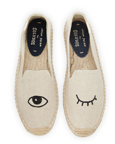 Wink-Embroidered Canvas Espadrille