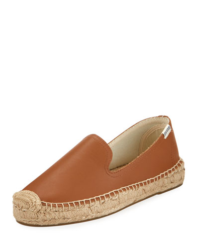 Leather Slip-On Espadrille Flat, Tan